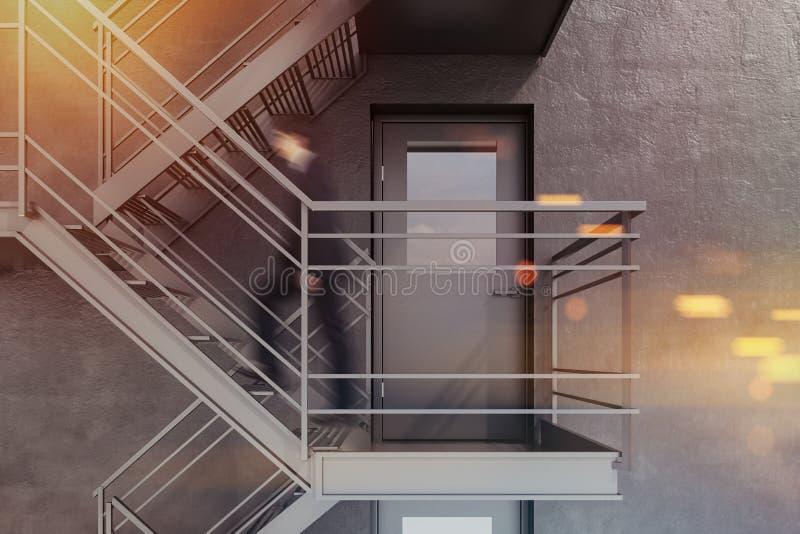Κλειστό συγκεκριμένο κτήριο πορτών εξόδων κινδύνου, άτομο διανυσματική απεικόνιση