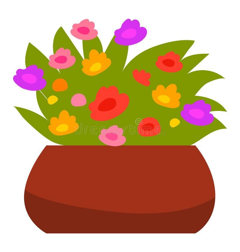 Κλειστό φυτό σπιτιού, λουλούδια στο ανθηρό διάνυσμα απεικόνιση αποθεμάτων