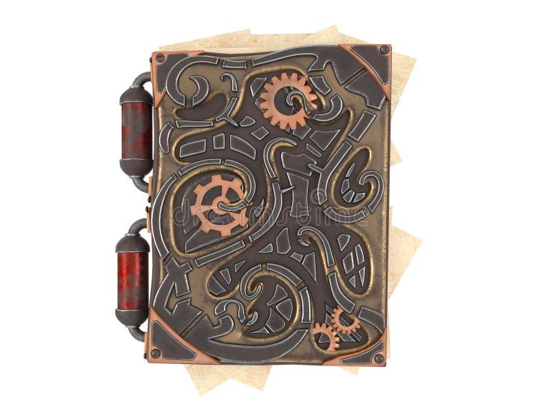Κλειστό steampunk βιβλίο με τις παρεμβολές σιδήρου στο απομονωμένο άσπρο υπόβαθρο τρισδιάστατη απεικόνιση στοκ εικόνες