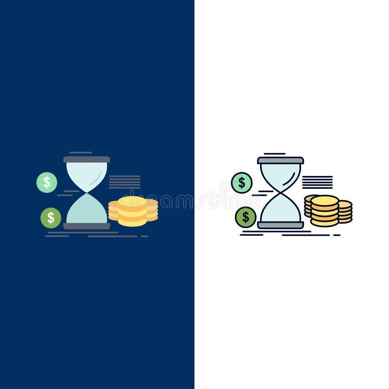 Κλεψύδρα, διαχείριση, χρήματα, χρόνος, επίπεδο διάνυσμα εικονιδίων χρώματος νομισμάτων απεικόνιση αποθεμάτων