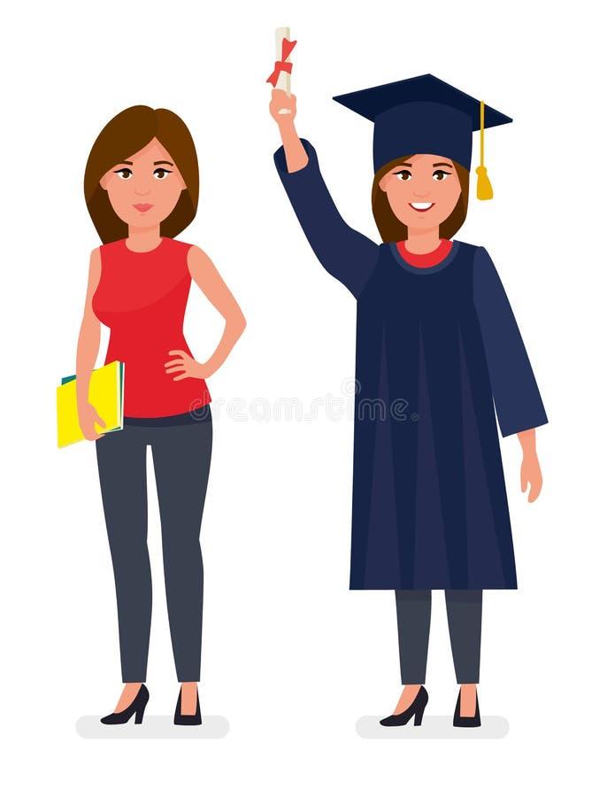 Κλιμακωτή νέα γυναίκα κοριτσιών σπουδαστών στην εσθήτα ΚΑΠ που παρουσιάζει κύλινδρο διπλωμάτων εκμετάλλευσης Έννοια τελετής βαθμο διανυσματική απεικόνιση