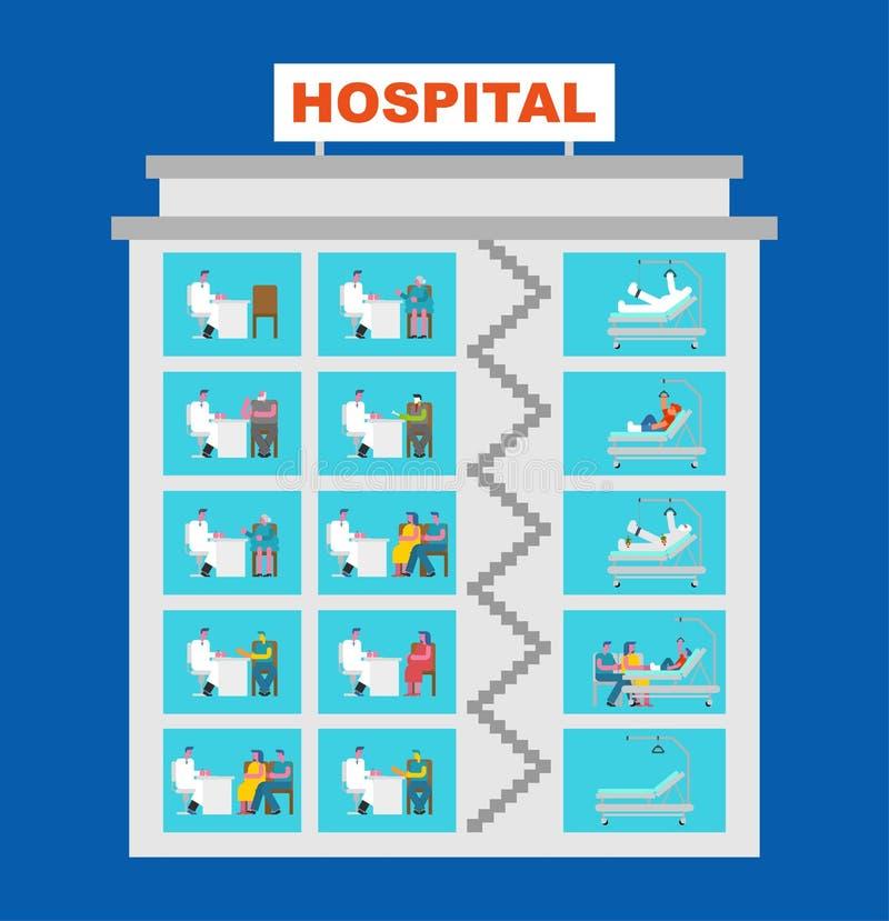 Κλινική infographic Χτίζοντας γιατροί νοσοκομείων στα γραφεία Ιατρικό κτήριο ασθενής γιατρών διανυσματική απεικόνιση
