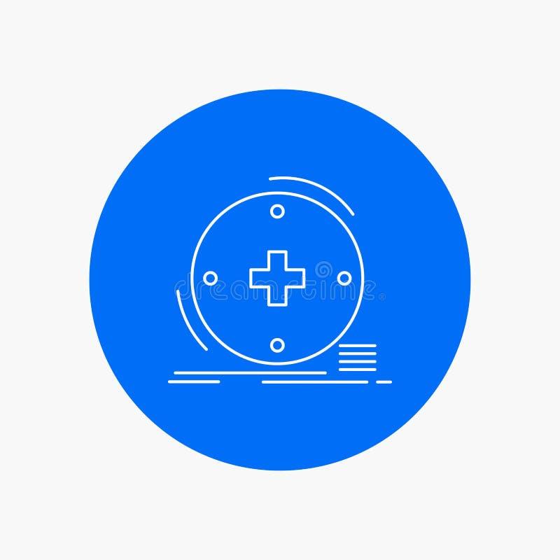 Κλινικός, ψηφιακός, υγεία, υγειονομική περίθαλψη, άσπρο εικονίδιο γραμμών τηλεϊατρικής στο υπόβαθρο κύκλων διανυσματική απεικόνισ ελεύθερη απεικόνιση δικαιώματος