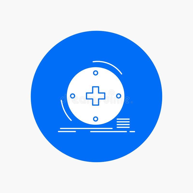Κλινικός, ψηφιακός, υγεία, υγειονομική περίθαλψη, άσπρο εικονίδιο Glyph τηλεϊατρικής στον κύκλο r ελεύθερη απεικόνιση δικαιώματος