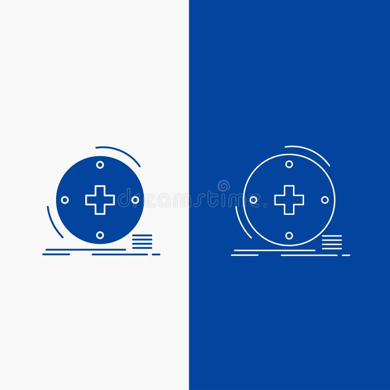 Κλινικός, ψηφιακός, υγεία, υγειονομική περίθαλψη, γραμμή τηλεϊατρικής και κουμπί Ιστού Glyph στο μπλε κάθετο έμβλημα χρώματος για ελεύθερη απεικόνιση δικαιώματος
