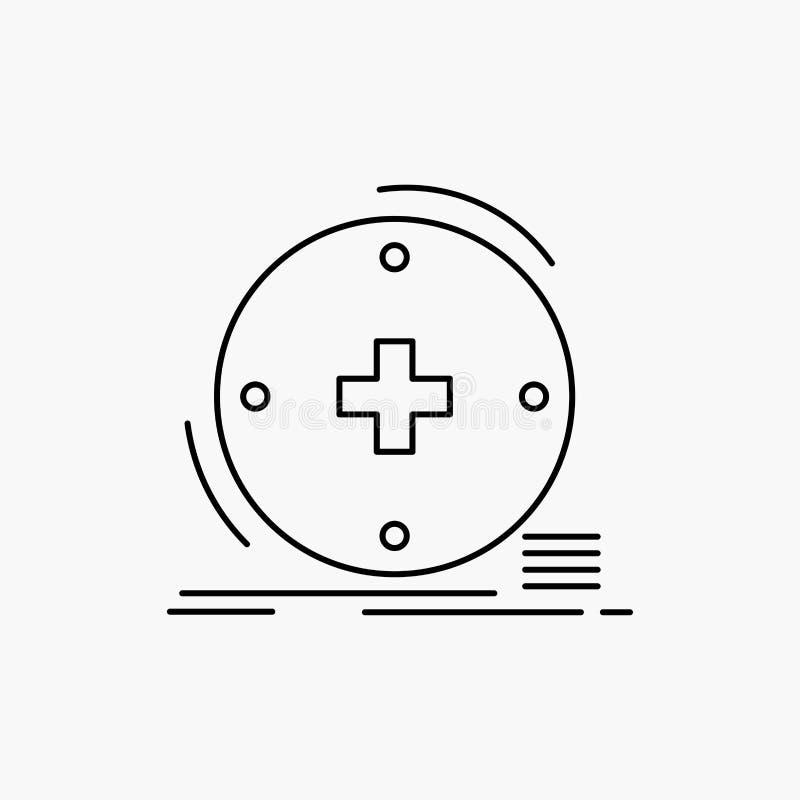 Κλινικός, ψηφιακός, υγεία, υγειονομική περίθαλψη, εικονίδιο γραμμών τηλεϊατρικής : απεικόνιση αποθεμάτων