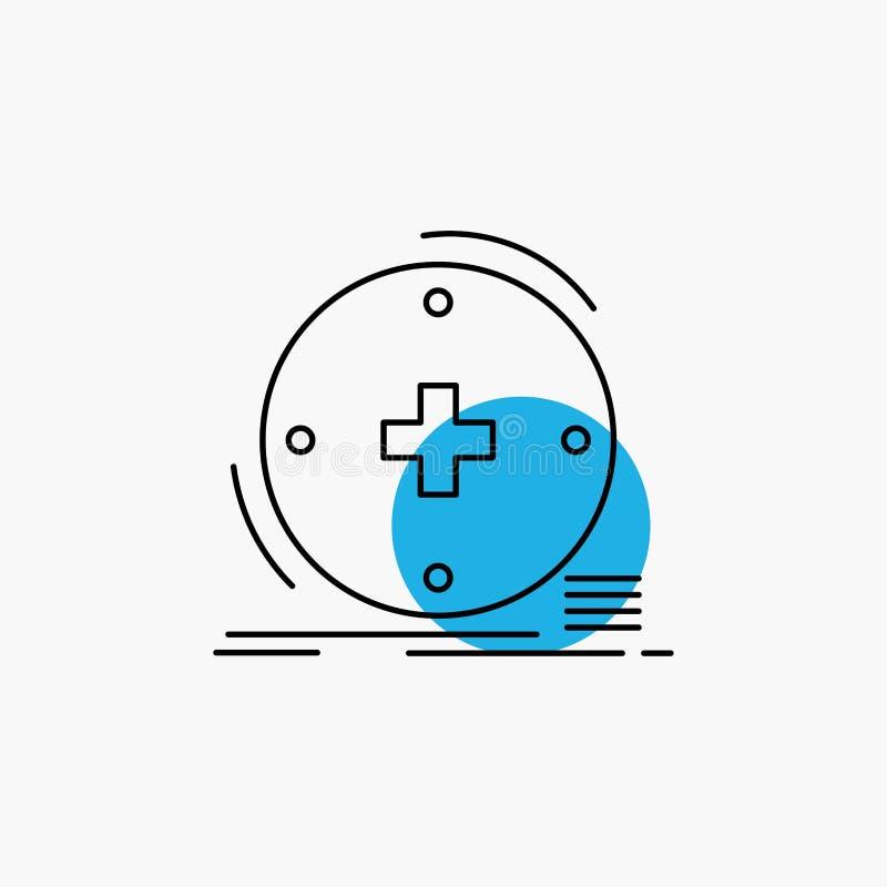 Κλινικός, ψηφιακός, υγεία, υγειονομική περίθαλψη, εικονίδιο γραμμών τηλεϊατρικής απεικόνιση αποθεμάτων