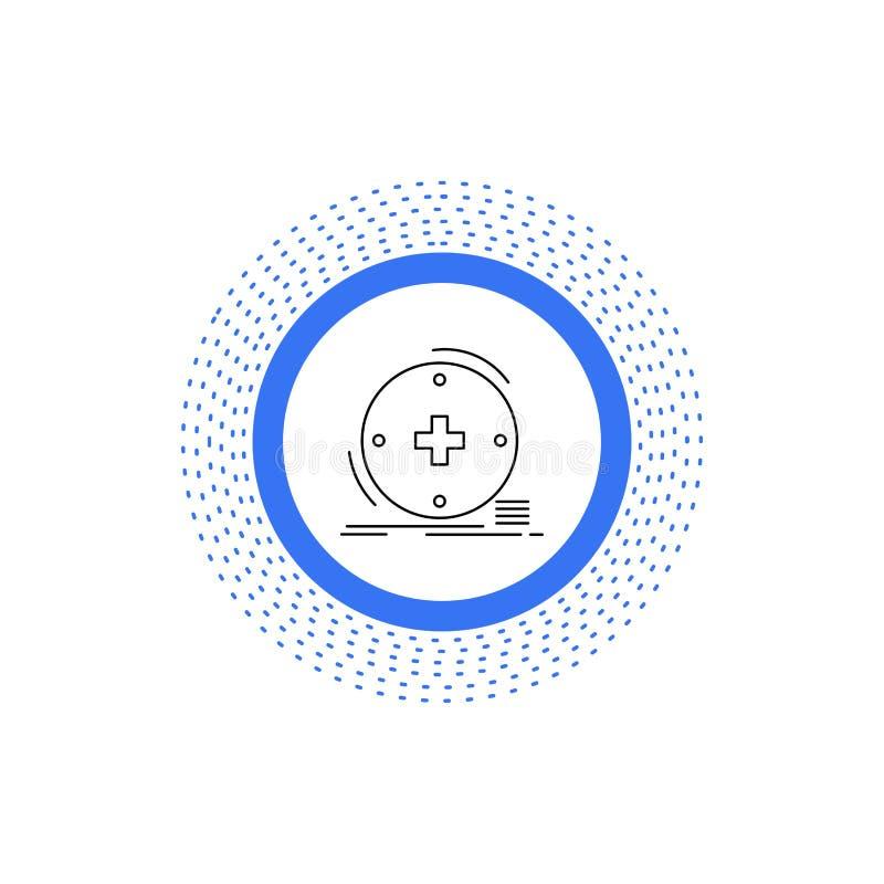 Κλινικός, ψηφιακός, υγεία, υγειονομική περίθαλψη, εικονίδιο γραμμών τηλεϊατρικής : διανυσματική απεικόνιση