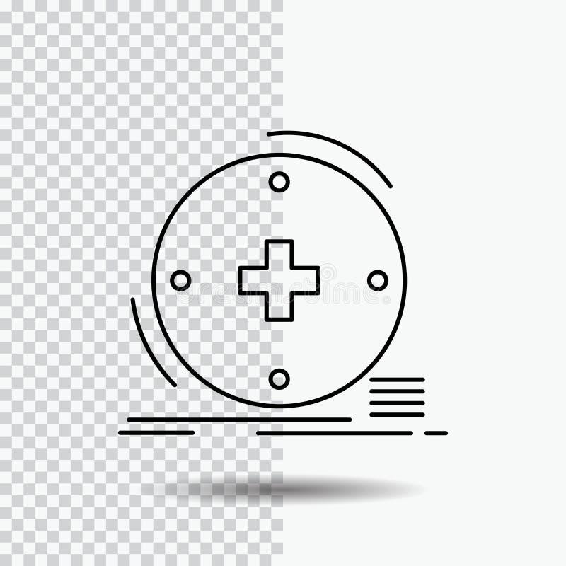 Κλινικός, ψηφιακός, υγεία, υγειονομική περίθαλψη, εικονίδιο γραμμών τηλεϊατρικής στο διαφανές υπόβαθρο Μαύρη διανυσματική απεικόν διανυσματική απεικόνιση