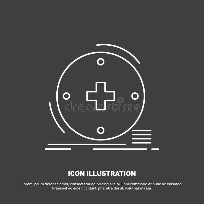 Κλινικός, ψηφιακός, υγεία, υγειονομική περίθαλψη, εικονίδιο τηλεϊατρικής Διανυσματικό σύμβολο γραμμών για UI και UX, τον ιστοχώρο διανυσματική απεικόνιση