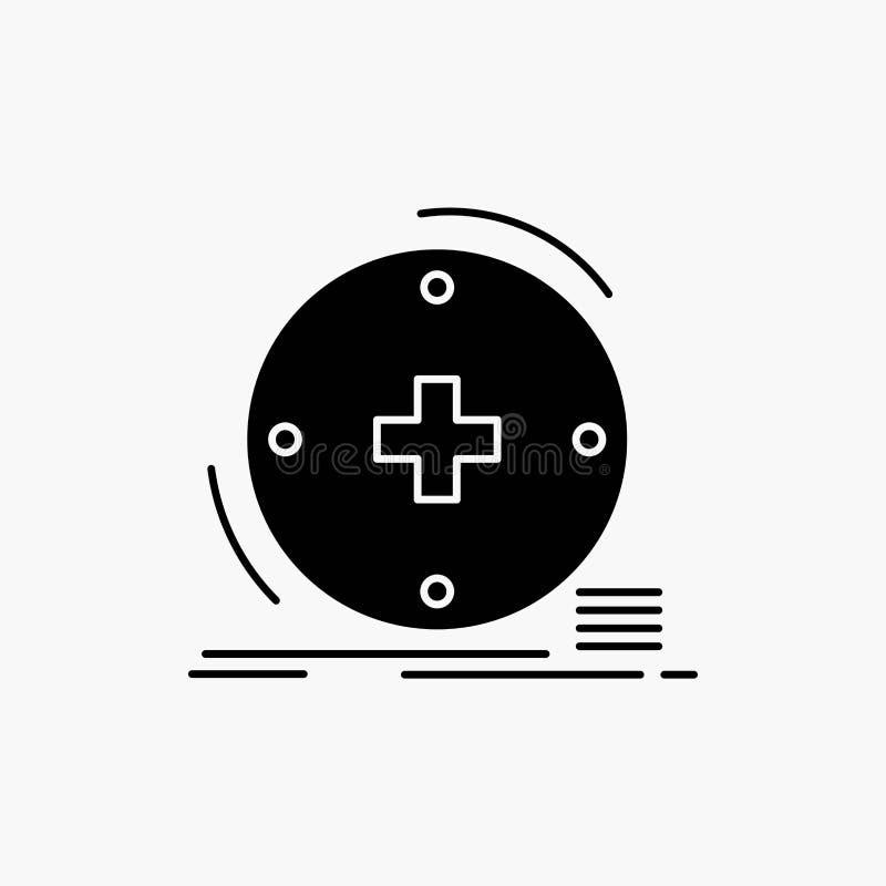 Κλινικός, ψηφιακός, υγεία, υγειονομική περίθαλψη, εικονίδιο Glyph τηλεϊατρικής : απεικόνιση αποθεμάτων