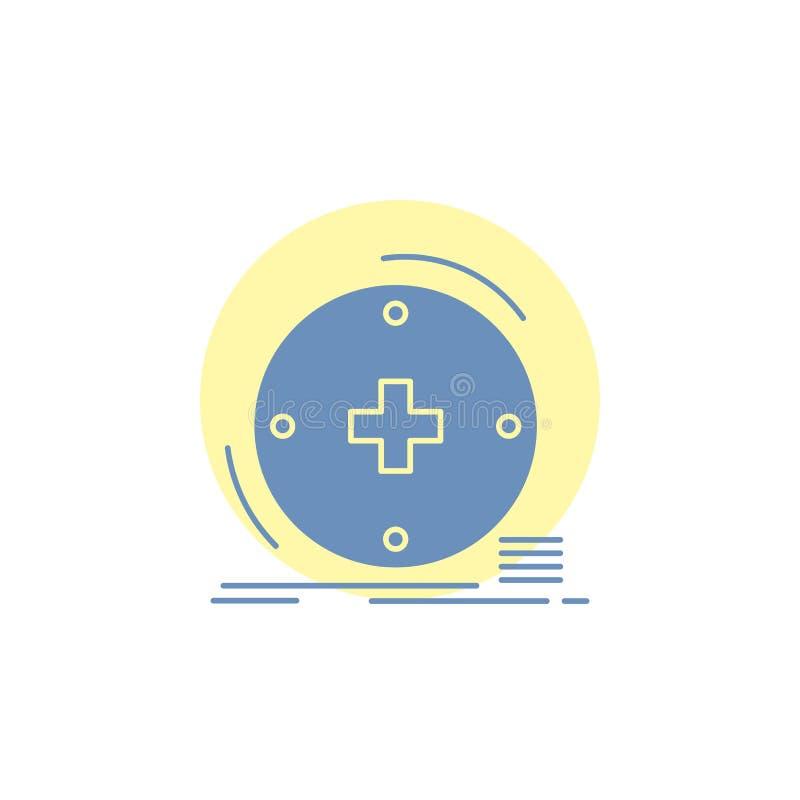 Κλινικός, ψηφιακός, υγεία, υγειονομική περίθαλψη, εικονίδιο Glyph τηλεϊατρικής διανυσματική απεικόνιση