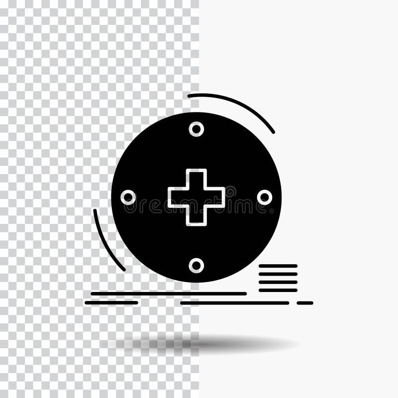 Κλινικός, ψηφιακός, υγεία, υγειονομική περίθαλψη, εικονίδιο Glyph τηλεϊατρικής στο διαφανές υπόβαθρο r διανυσματική απεικόνιση