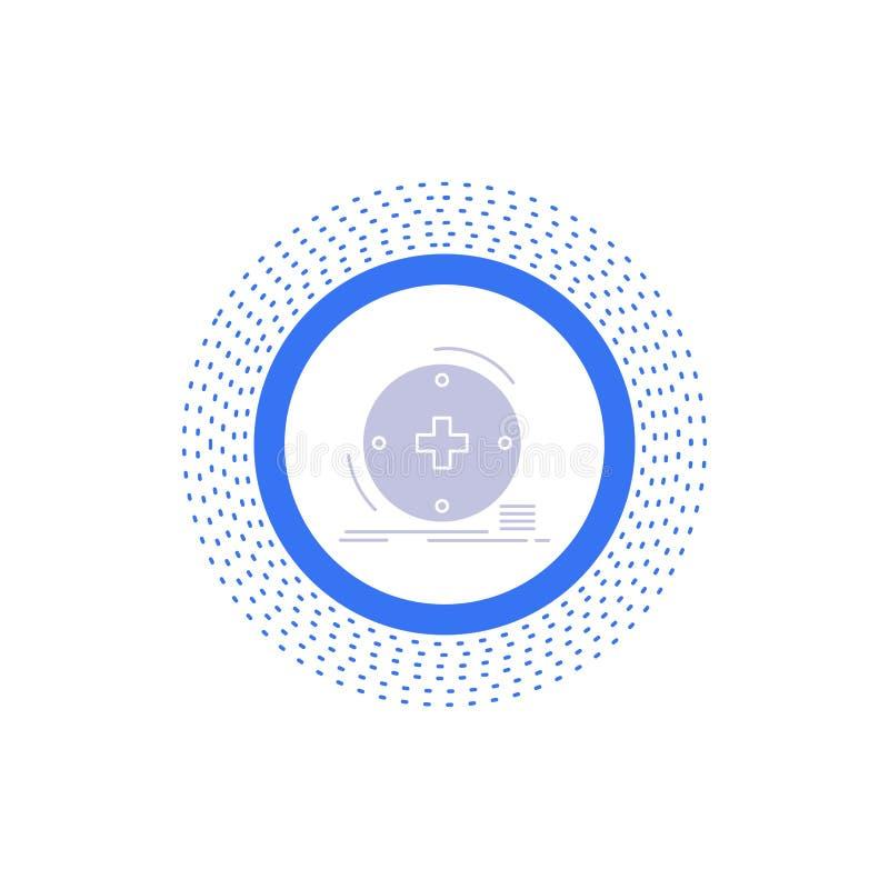 Κλινικός, ψηφιακός, υγεία, υγειονομική περίθαλψη, εικονίδιο Glyph τηλεϊατρικής : διανυσματική απεικόνιση