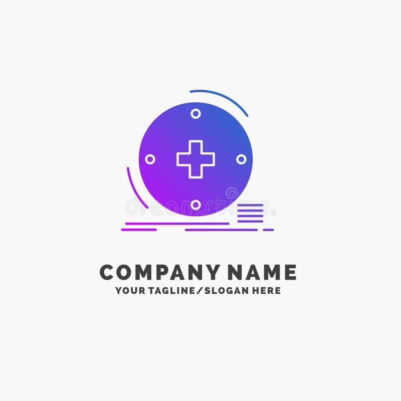 Κλινικός, ψηφιακός, υγεία, υγειονομική περίθαλψη, πορφυρό πρότυπο επιχειρησιακών λογότυπων τηλεϊατρικής r διανυσματική απεικόνιση