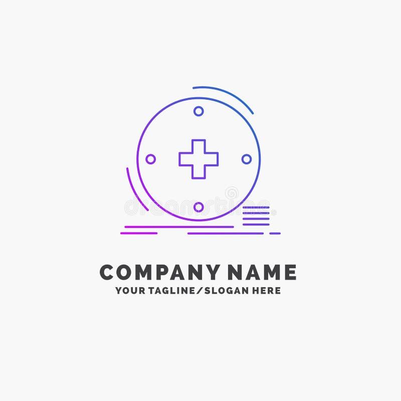 Κλινικός, ψηφιακός, υγεία, υγειονομική περίθαλψη, πορφυρό πρότυπο επιχειρησιακών λογότυπων τηλεϊατρικής r ελεύθερη απεικόνιση δικαιώματος