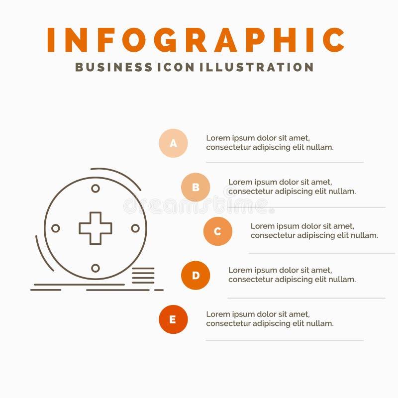 Κλινικός, ψηφιακός, υγεία, υγειονομική περίθαλψη, πρότυπο Infographics τηλεϊατρικής για τον ιστοχώρο και παρουσίαση Γκρίζο εικονί απεικόνιση αποθεμάτων
