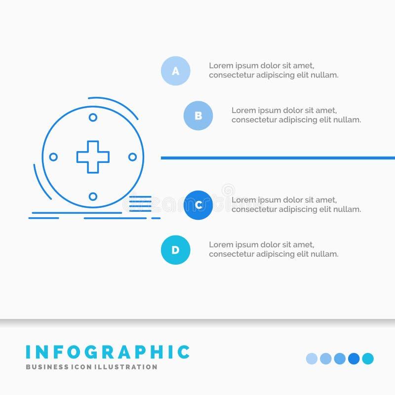 Κλινικός, ψηφιακός, υγεία, υγειονομική περίθαλψη, πρότυπο Infographics τηλεϊατρικής για τον ιστοχώρο και παρουσίαση Μπλε εικονίδι διανυσματική απεικόνιση
