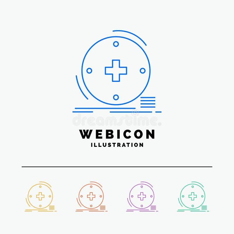 Κλινικός, ψηφιακός, υγεία, υγειονομική περίθαλψη, τηλεϊατρική 5 πρότυπο εικονιδίων Ιστού γραμμών χρώματος που απομονώνεται στο λε ελεύθερη απεικόνιση δικαιώματος