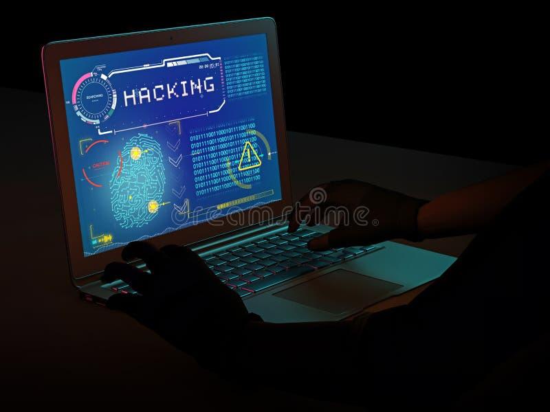 Κλοπή ταυτότητας, αποκτήσεις προσωπικών στοιχείων, απάτη Λαμβάνοντας το περιεχόμενο παράνομα, ληστευμένο λογισμικό Χάκερ που παρα στοκ εικόνα