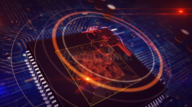 ΚΜΕ εν πλω με την επικεφαλής επίδειξη ολογραμμάτων συμβόλων AI απεικόνιση αποθεμάτων