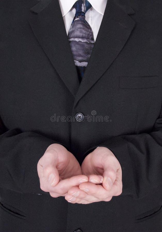 κοίλα φιλανθρωπία χέρια επιχειρηματιών που δεν κρατούν τίποτα στοκ εικόνα