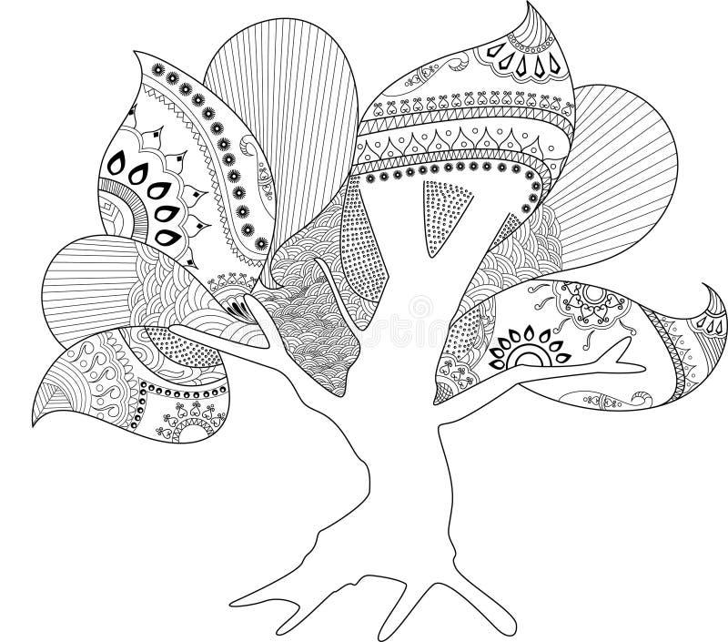 Κοίλο έργο τέχνης σελίδων δέντρων χρωματίζοντας ελεύθερη απεικόνιση δικαιώματος