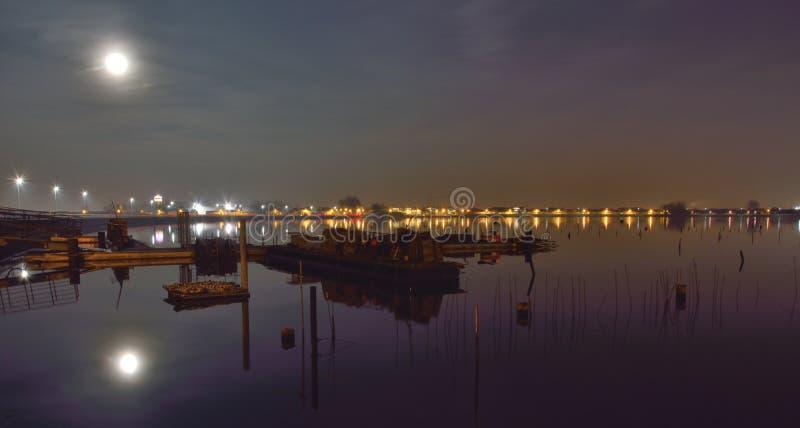 Κοίλωμα στρειδιών σε Οστάνδη Βέλγιο τη νύχτα στοκ φωτογραφία με δικαίωμα ελεύθερης χρήσης
