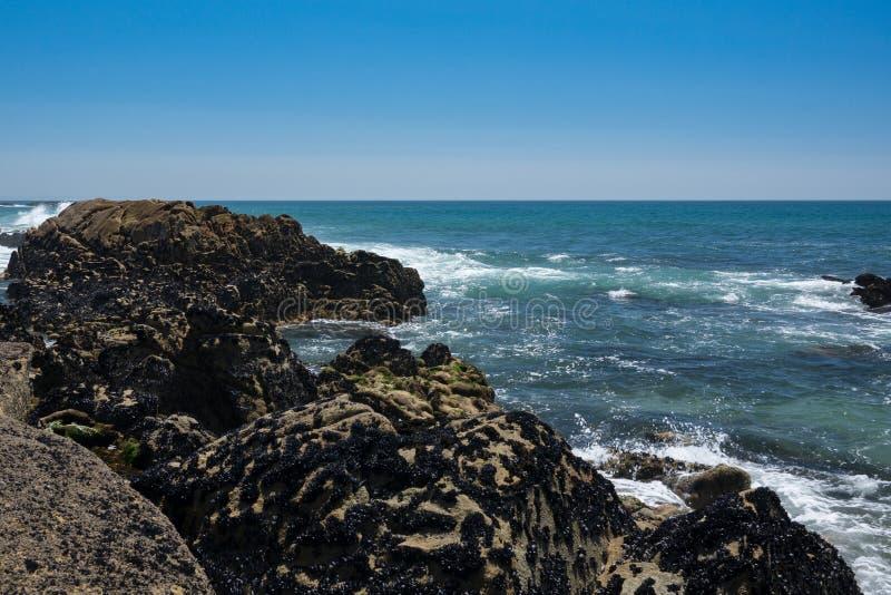 Κοίταγμα πέρα από τους βράχους προς τον μπλε Ατλαντικό Ωκεανό στην Πορτογαλία στοκ φωτογραφία με δικαίωμα ελεύθερης χρήσης