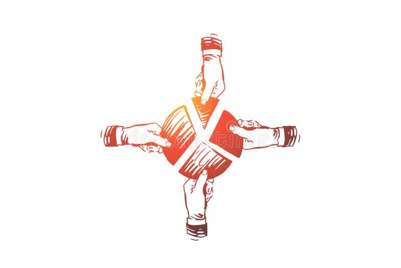 Κοβάλτιο που λειτουργεί, έννοια ομαδικής εργασίας Συρμένη χέρι απομονωμένη σκίτσο απεικόνιση απεικόνιση αποθεμάτων