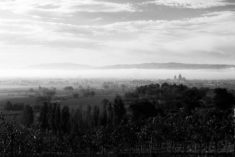 Κοιλάδα της Ουμβρίας στην αυγή, με το S Εκκλησία Assisi Angeli degli της Μαρίας στην απόσταση στη μέση της ομίχλης, και αμπελώνες στοκ εικόνα