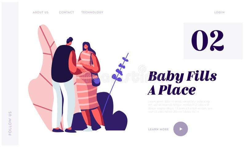 Κοιλιά αφής ατόμων της έγκυου συζύγου Το νέο οικογενειακό περιμένοντας μωρό, ευτυχές ζεύγος των αρσενικών και θηλυκών χαρακτήρων  διανυσματική απεικόνιση
