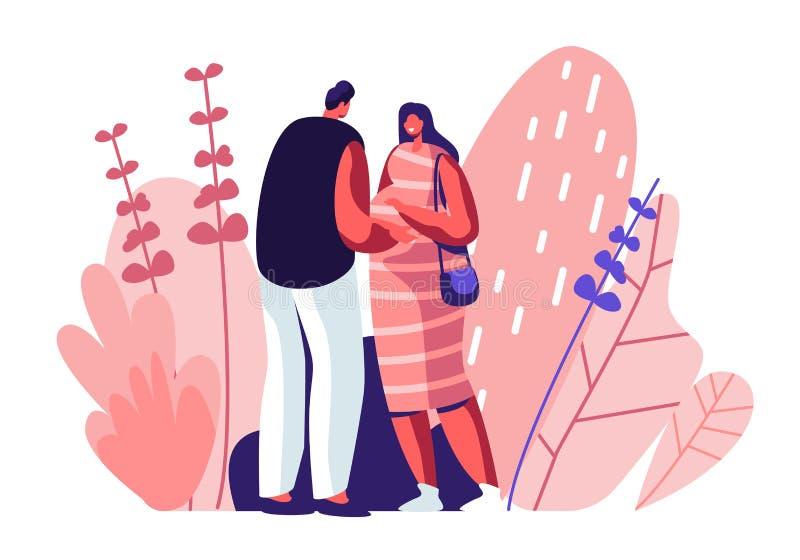 Κοιλιά αφής ατόμων της έγκυου συζύγου Το νέο οικογενειακό περιμένοντας μωρό, ευτυχές ζεύγος των αρσενικών και θηλυκών χαρακτήρων  απεικόνιση αποθεμάτων