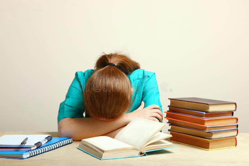 κοιμισμένος έπεσε σπουδαστής στοκ εικόνα