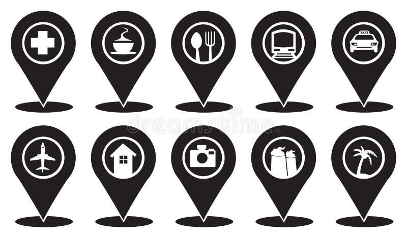 Κοινά εικονίδια δεικτών στον ταξιδιωτικό χάρτη διανυσματική απεικόνιση