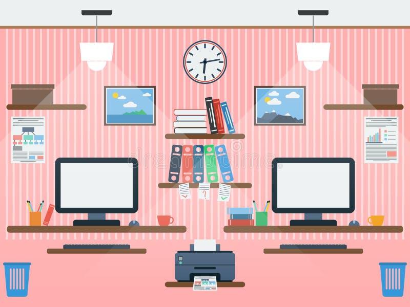 Κοινή επίπεδη διανυσματική απεικόνιση χώρου εργασίας απεικόνιση αποθεμάτων