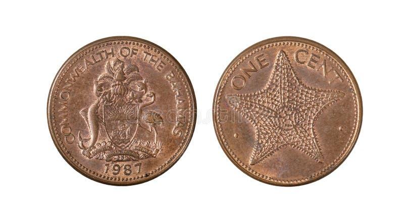 Κοινοπολιτεία των Νήσων Μπαχάμες νόμισμα ενός σεντ στοκ φωτογραφία