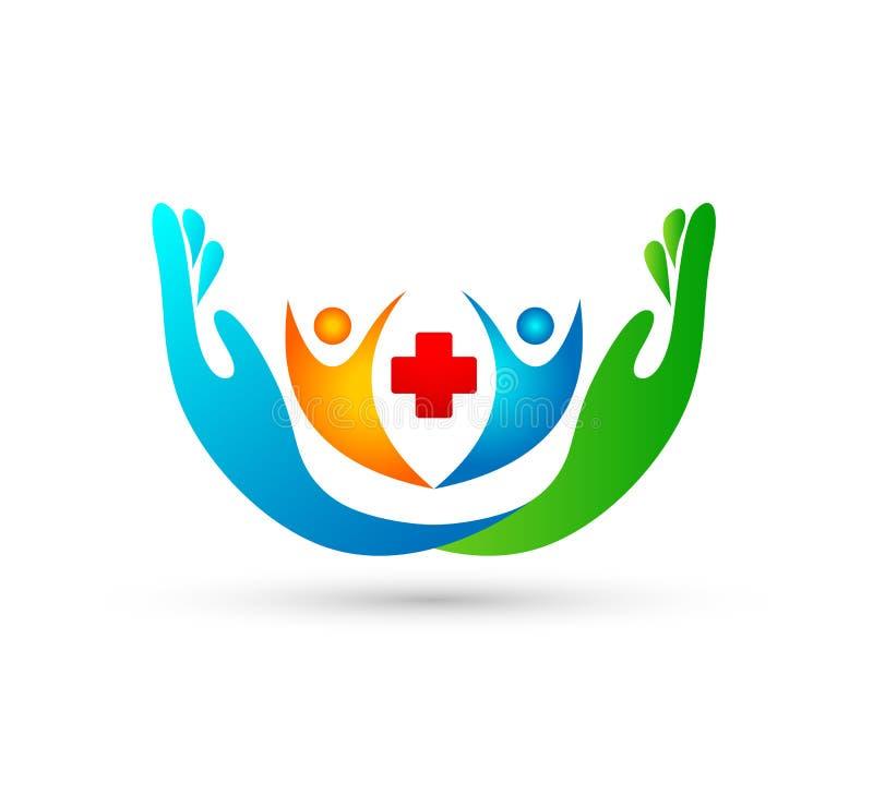 Κοινοτικά λογότυπο ιατρικής φροντίδας ανθρώπων και πρότυπο συμβόλων με δύο χέρια Άνθρωποι, λογότυπο διανυσματική απεικόνιση