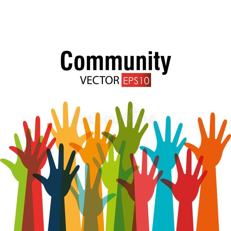 Κοινοτικός και κοινωνικός διανυσματική απεικόνιση