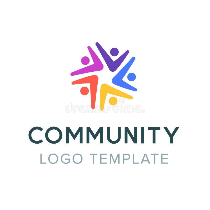 Κοινοτικό λογότυπο Κοινωνικό λογότυπο ομαδικής εργασίας Σύμβολο συνεργασίας Πρότυπο συμβόλων επικοινωνίας ανθρώπων διανυσματική απεικόνιση