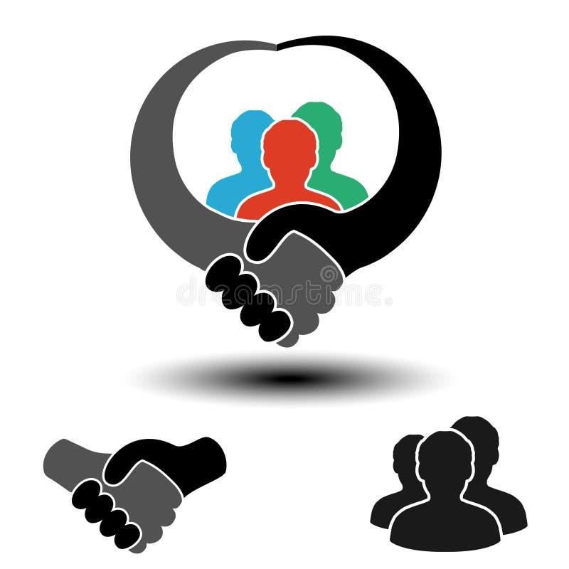 Κοινοτικό σύμβολο με το σύμβολο χειραψιών Απλές σκιαγραφίες των ατόμων με τη χειρονομία χειραψιών Κυκλικές ετικέτες σχεδιαγράμματ ελεύθερη απεικόνιση δικαιώματος