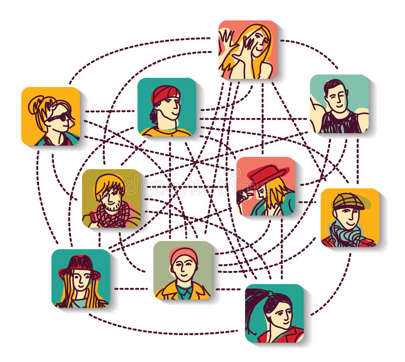 Κοινωνικά είδωλα χρώματος σύνδεσης ανθρώπων δικτύων απεικόνιση αποθεμάτων