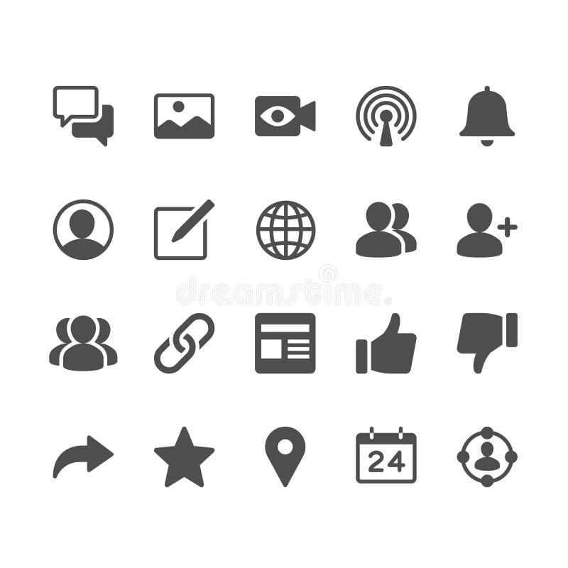 Κοινωνικά εικονίδια δικτύων glyph διανυσματική απεικόνιση