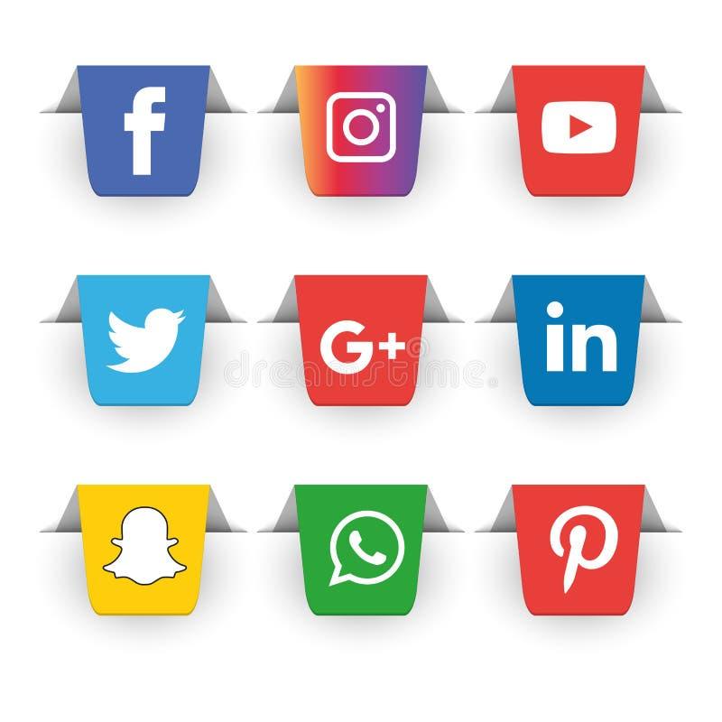 Κοινωνικά εικονίδια μέσων καθορισμένα το λογότυπο το διανυσματικό εικονογράφο ελεύθερη απεικόνιση δικαιώματος