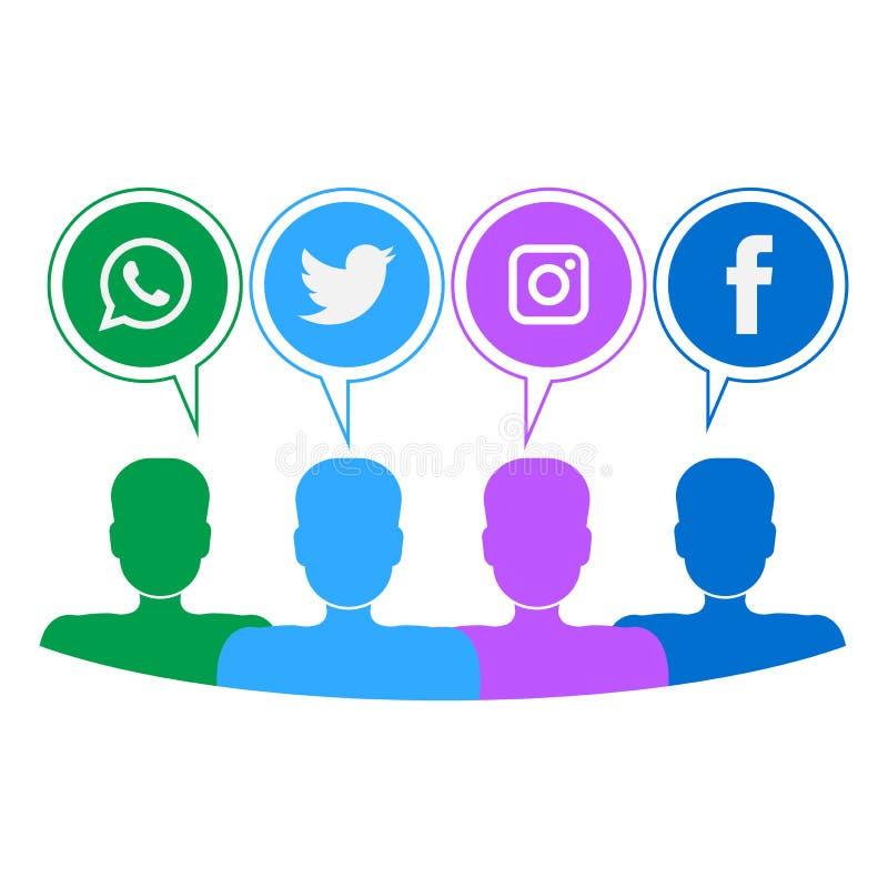 Κοινωνικά εικονίδια μέσων με το ανθρώπινο κεφάλι ελεύθερη απεικόνιση δικαιώματος