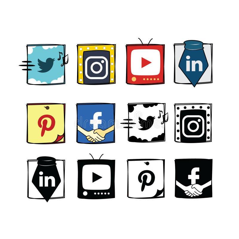 Κοινωνικά εικονίδια μέσων ύφους κινούμενων σχεδίων διασκέδασης καθορισμένα απεικόνιση αποθεμάτων