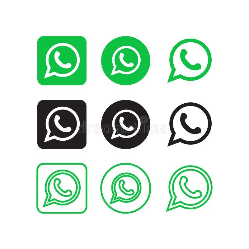 Κοινωνικά εικονίδια μέσων Whatsapp ελεύθερη απεικόνιση δικαιώματος
