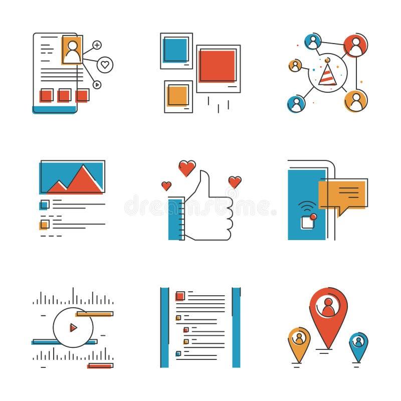 Κοινωνικά εικονίδια γραμμών στοιχείων δικτύωσης καθορισμένα απεικόνιση αποθεμάτων