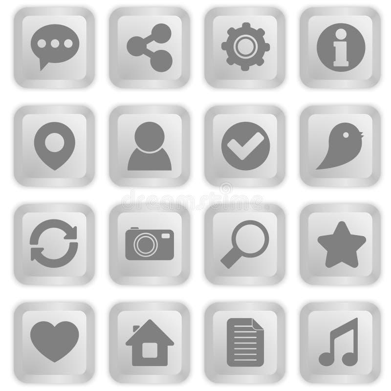 Κοινωνικά εικονίδια στα άσπρα κουμπιά πληκτρολογίων ελεύθερη απεικόνιση δικαιώματος