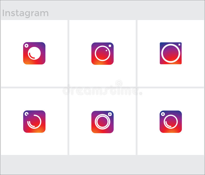 Κοινωνικά εικονίδια MEDIA καθορισμένα, κάμερα φωτογραφιών instagram απεικόνιση αποθεμάτων
